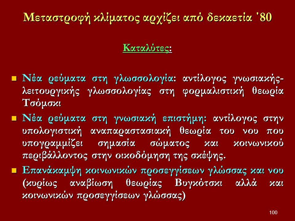 100 Μεταστροφή κλίματος αρχίζει από δεκαετία ΄80 Καταλύτες: Νέα ρεύματα στη γλωσσολογία: αντίλογος γνωσιακής- λειτουργικής γλωσσολογίας στη φορμαλιστική θεωρία Τσόμσκι Νέα ρεύματα στη γλωσσολογία: αντίλογος γνωσιακής- λειτουργικής γλωσσολογίας στη φορμαλιστική θεωρία Τσόμσκι Νέα ρεύματα στη γνωσιακή επιστήμη: αντίλογος στην υπολογιστική αναπαραστασιακή θεωρία του νου που υπογραμμίζει σημασία σώματος και κοινωνικού περιβάλλοντος στην οικοδόμηση της σκέψης.
