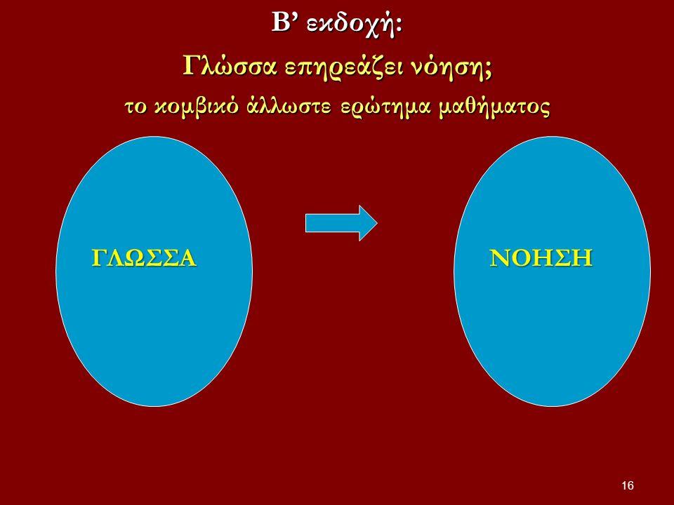 Β' εκδοχή: Γλώσσα επηρεάζει νόηση; το κομβικό άλλωστε ερώτημα μαθήματος 16 ΓΛΩΣΣΑΝΟΗΣΗ