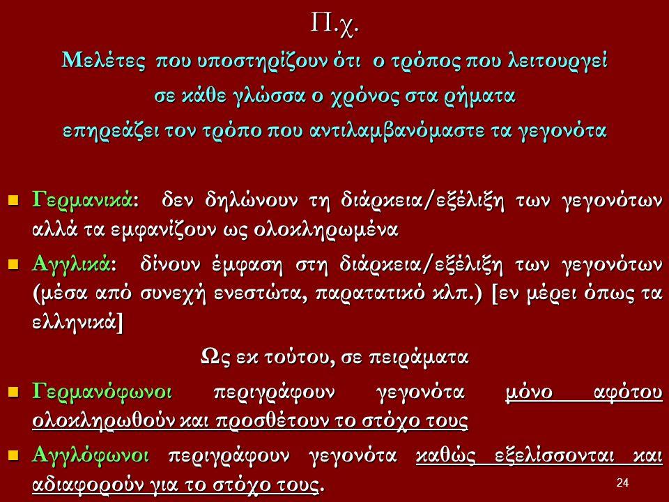 Π.χ. Μελέτες που υποστηρίζουν ότι ο τρόπος που λειτουργεί σε κάθε γλώσσα ο χρόνος στα ρήματα επηρεάζει τον τρόπο που αντιλαμβανόμαστε τα γεγονότα Γερμ