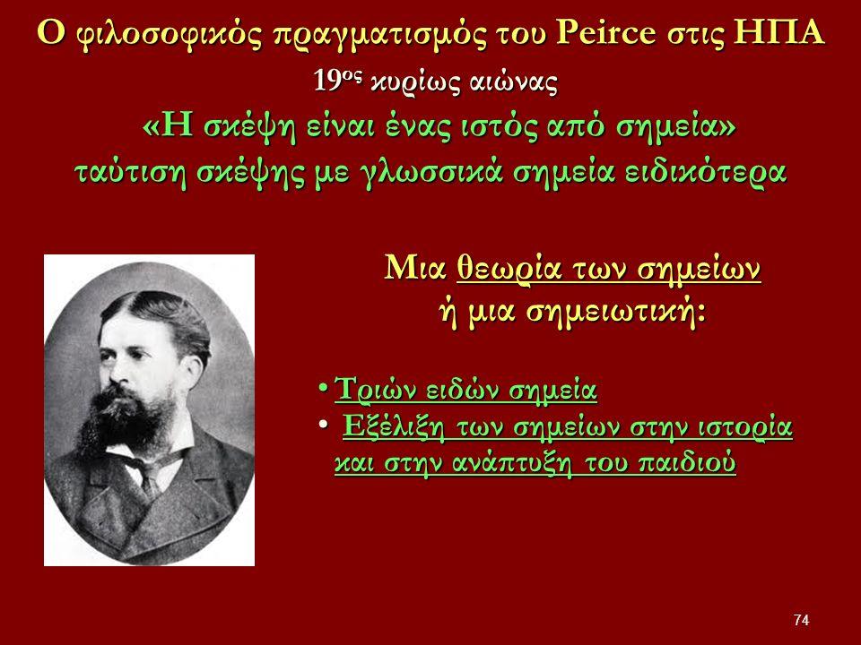 Ο φιλοσοφικός πραγματισμός του Peirce στις ΗΠΑ 19 ος κυρίως αιώνας «Η σκέψη είναι ένας ιστός από σημεία» ταύτιση σκέψης με γλωσσικά σημεία ειδικότερα 74 Μια θεωρία των σημείων ή μια σημειωτική: Τριών ειδών σημεία Τριών ειδών σημεία Εξέλιξη των σημείων στην ιστορία και στην ανάπτυξη του παιδιού Εξέλιξη των σημείων στην ιστορία και στην ανάπτυξη του παιδιού