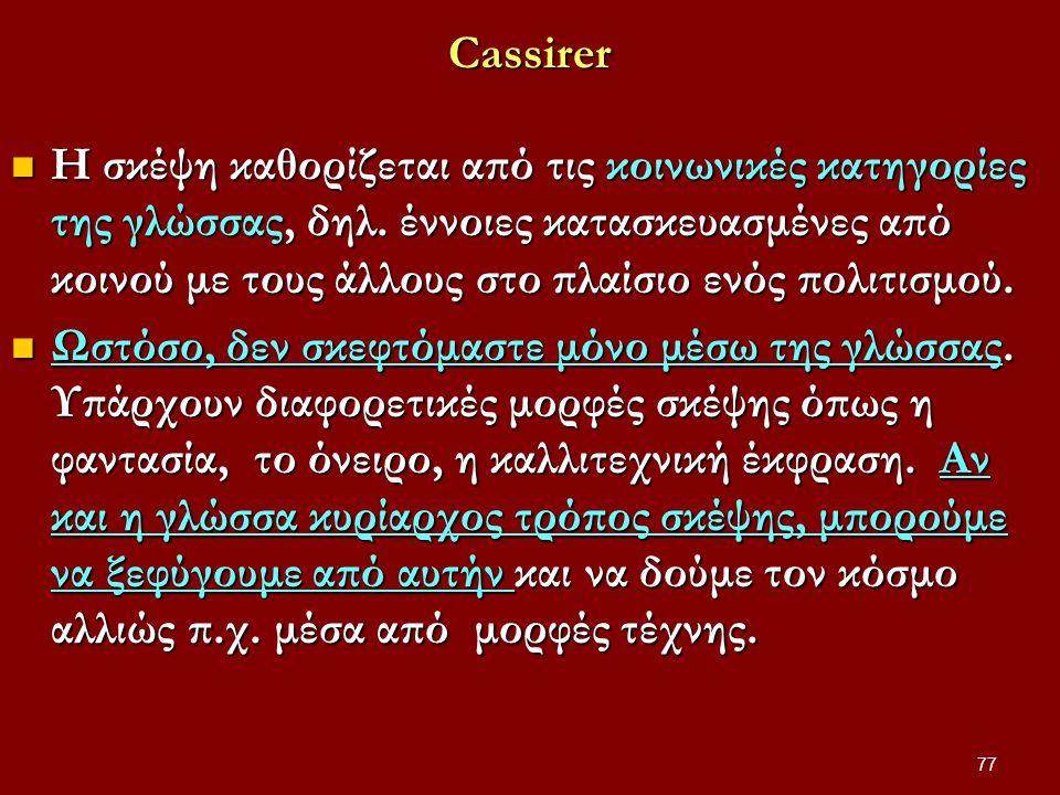Cassirer Η σκέψη καθορίζεται από τις κοινωνικές κατηγορίες της γλώσσας, δηλ.
