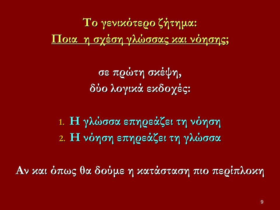 Εγκαινίαση γλωσσικής στροφής, τέλη 19 ου αιώνα Frege, Γερμανός μαθηματικός, φιλόσοφος και πατέρας της σύγχρονης λογικής 80 Η σκέψη κατευθύνεται, σχηματοποιείται, καθίσταται δυνατή από τη γλώσσα Η σκέψη κατευθύνεται, σχηματοποιείται, καθίσταται δυνατή από τη γλώσσα Η γλώσσα ένα σύστημα (ή πλέγμα αλληλένδετων) εννοιών και όχι απλώς ένας κατάλογός τους [στο πνεύμα της γλωσσολογίας σήμερα] Η γλώσσα ένα σύστημα (ή πλέγμα αλληλένδετων) εννοιών και όχι απλώς ένας κατάλογός τους [στο πνεύμα της γλωσσολογίας σήμερα]