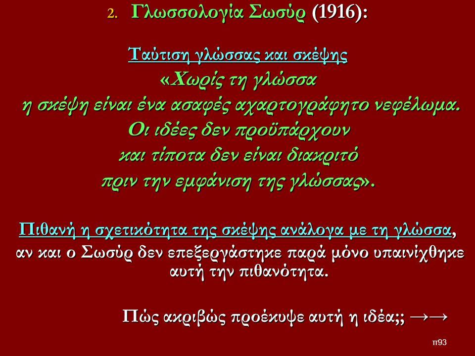 2. Γλωσσολογία Σωσύρ (1916): Ταύτιση γλώσσας και σκέψης «Χωρίς τη γλώσσα η σκέψη είναι ένα ασαφές αχαρτογράφητο νεφέλωμα. η σκέψη είναι ένα ασαφές αχα