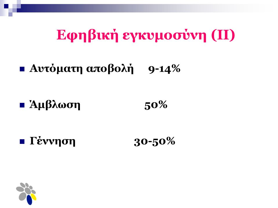 Εφηβική εγκυμοσύνη (ΙΙ) Αυτόματη αποβολή 9-14% Άμβλωση 50% Γέννηση 30-50%