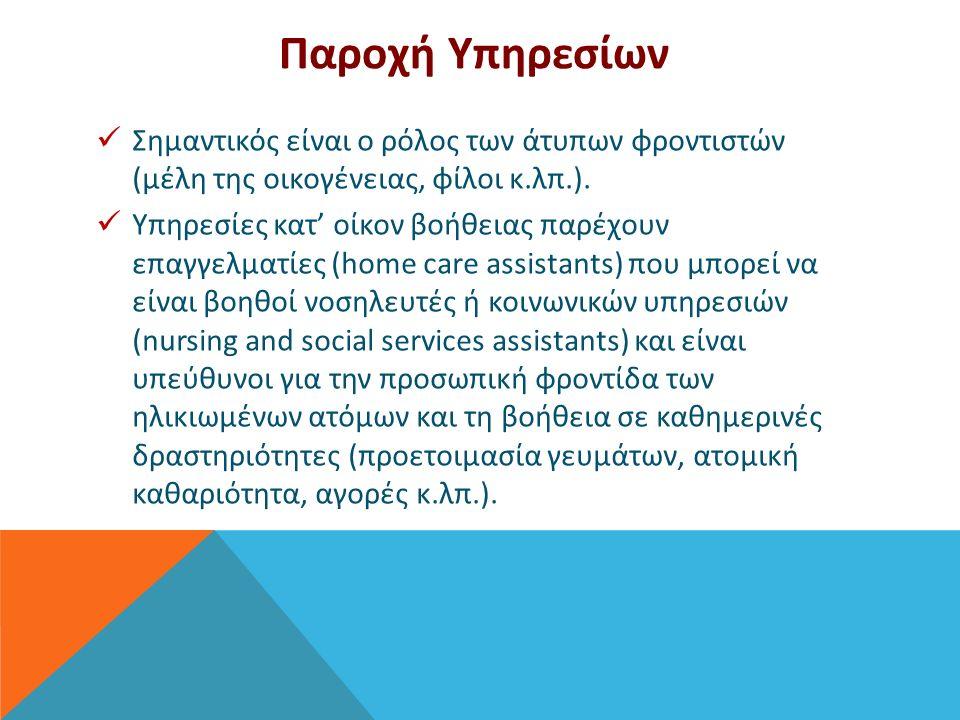 Παροχή Υπηρεσίων Σημαντικός είναι ο ρόλος των άτυπων φροντιστών (μέλη της οικογένειας, φίλοι κ.λπ.).