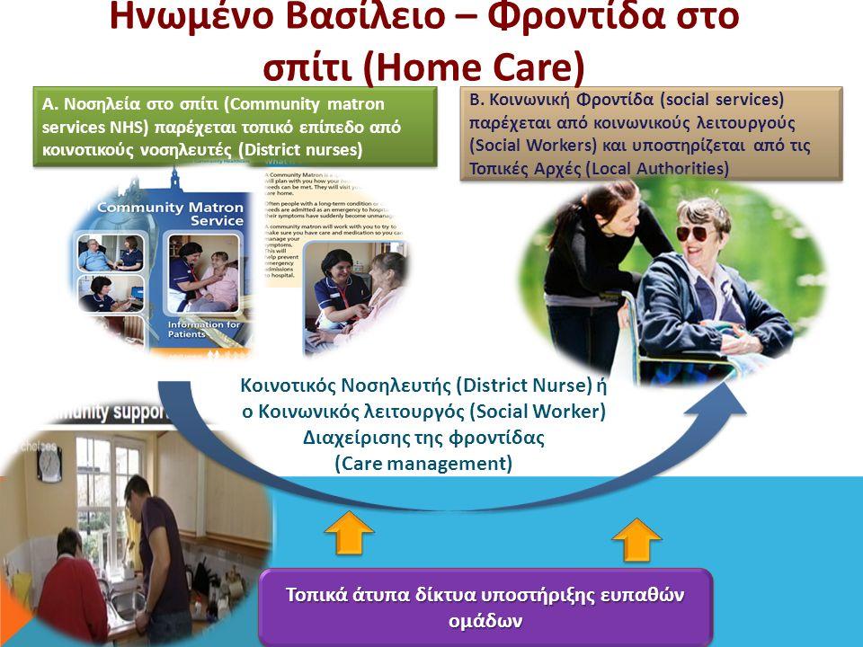 Α. Νοσηλεία στο σπίτι (Community matron services NHS) παρέχεται τοπικό επίπεδο από κοινοτικούς νοσηλευτές (District nurses) Β. Κοινωνική Φροντίδα (soc