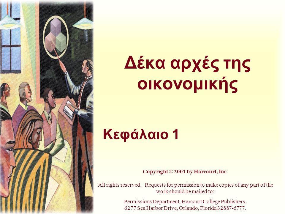 Δέκα αρχές της οικονομικής Κεφάλαιο 1 Copyright © 2001 by Harcourt, Inc. All rights reserved. Requests for permission to make copies of any part of th