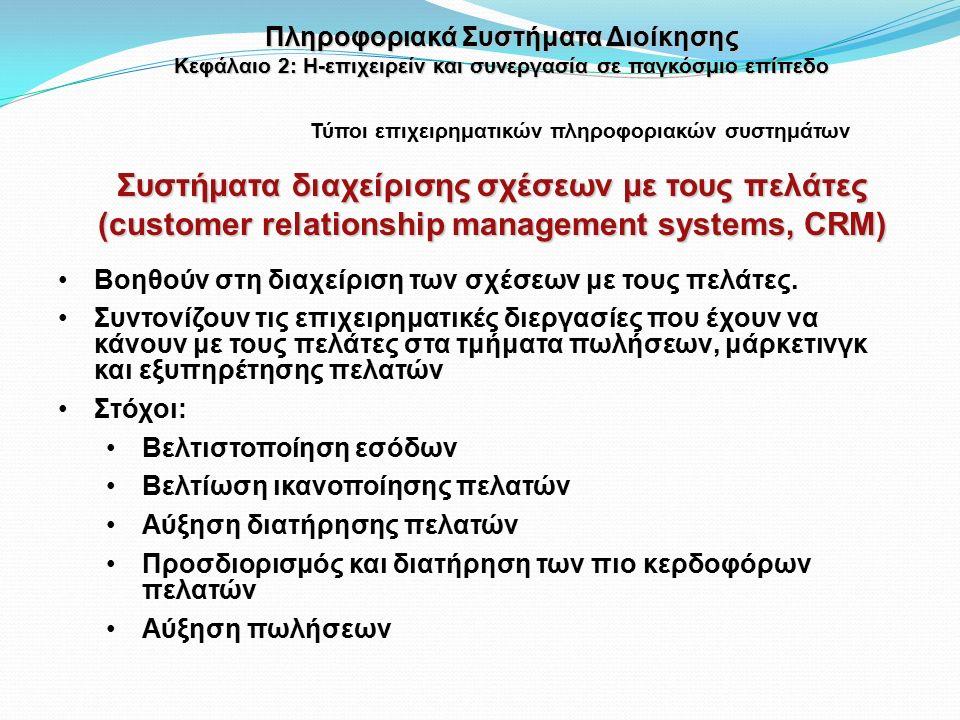 Βοηθούν στη διαχείριση των σχέσεων με τους πελάτες.