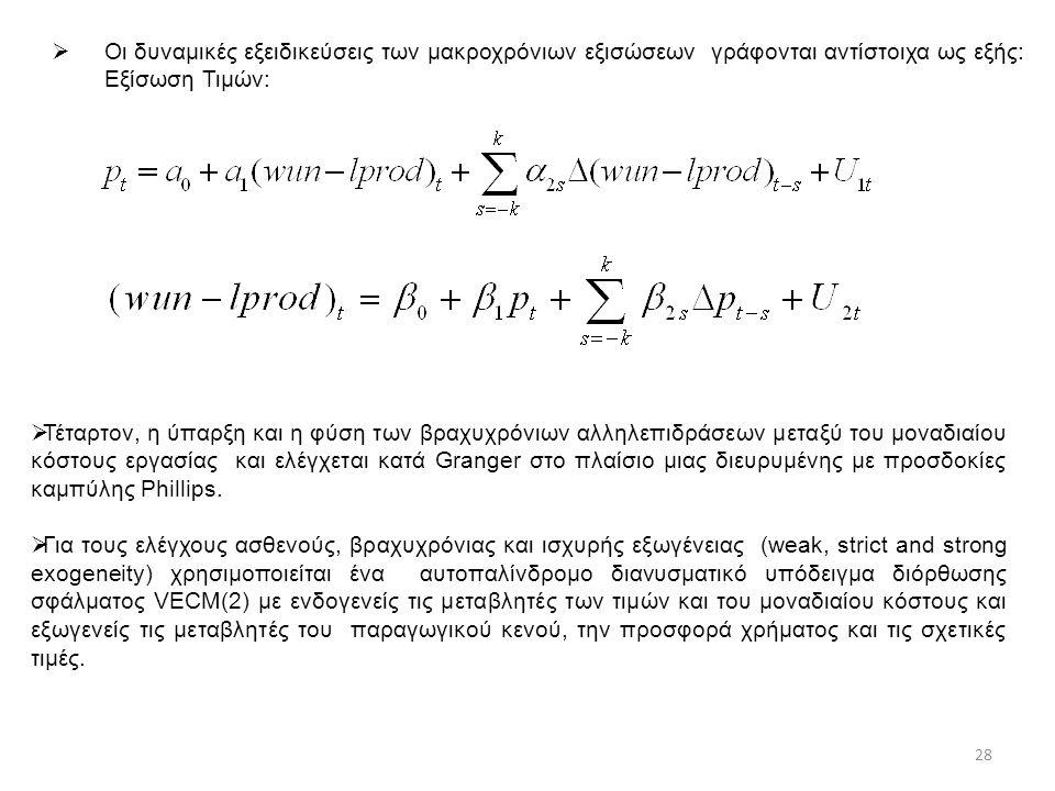  Οι δυναμικές εξειδικεύσεις των μακροχρόνιων εξισώσεων γράφονται αντίστοιχα ως εξής: Εξίσωση Τιμών:  Τέταρτον, η ύπαρξη και η φύση των βραχυχρόνιων αλληλεπιδράσεων μεταξύ του μοναδιαίου κόστους εργασίας και ελέγχεται κατά Granger στο πλαίσιο μιας διευρυμένης με προσδοκίες καμπύλης Phillips.