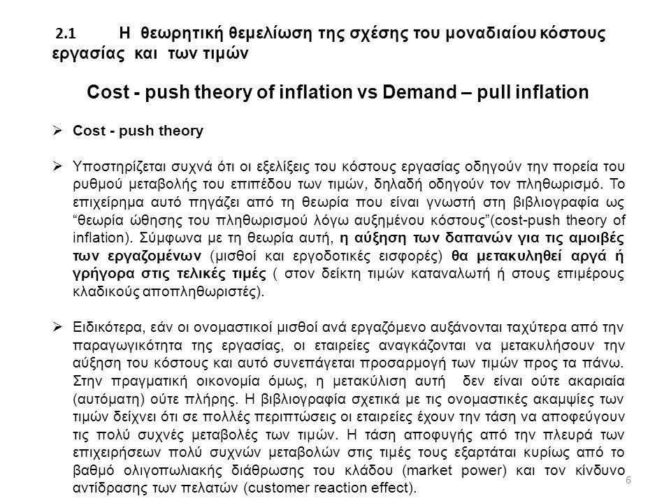 2.1 Η θεωρητική θεμελίωση της σχέσης του μοναδιαίου κόστους εργασίας και των τιμών Cost - push theory of inflation vs Demand – pull inflation  Cost - push theory  Υποστηρίζεται συχνά ότι οι εξελίξεις του κόστους εργασίας οδηγούν την πορεία του ρυθμού μεταβολής του επιπέδου των τιμών, δηλαδή οδηγούν τον πληθωρισμό.