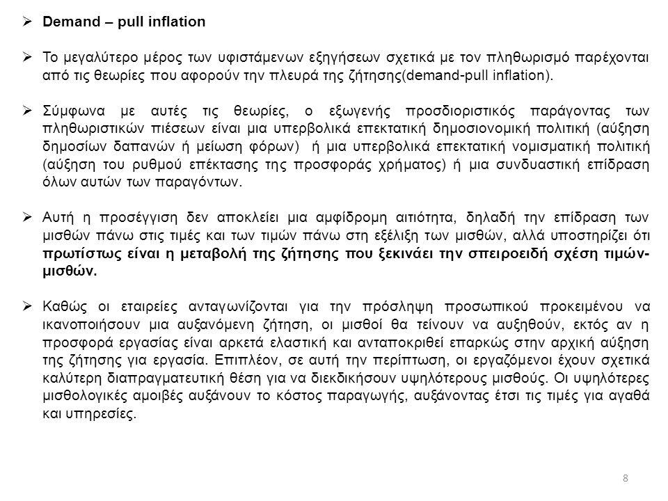  Demand – pull inflation  Το μεγαλύτερο μέρος των υφιστάμενων εξηγήσεων σχετικά με τον πληθωρισμό παρέχονται από τις θεωρίες που αφορούν την πλευρά της ζήτησης(demand-pull inflation).