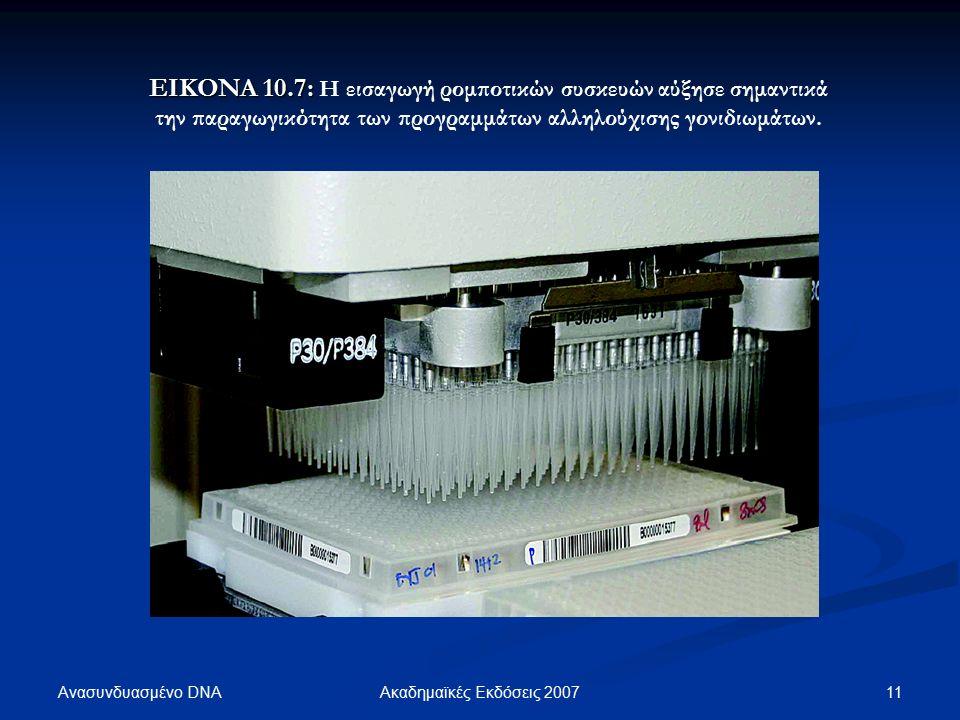 Ανασυνδυασμένο DNA 11Ακαδημαϊκές Εκδόσεις 2007 EIKONA 10.7: EIKONA 10.7: Η εισαγωγή ρομποτικών συσκευών αύξησε σημαντικά την παραγωγικότητα των προγραμμάτων αλληλούχισης γονιδιωμάτων.