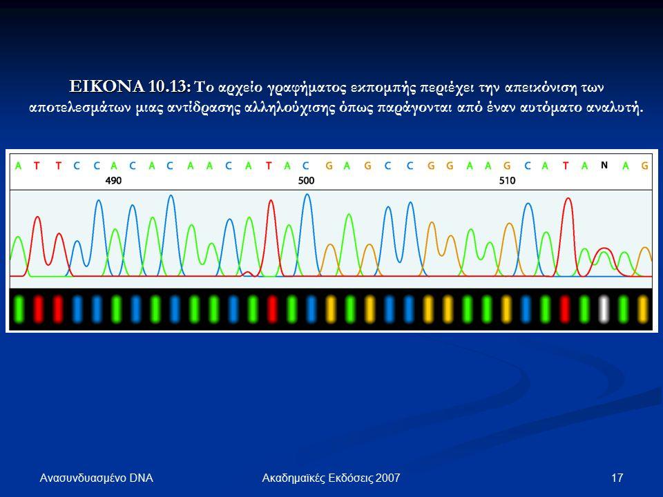 Ανασυνδυασμένο DNA 17Ακαδημαϊκές Εκδόσεις 2007 ΕΙΚΟΝΑ 10.13: ΕΙΚΟΝΑ 10.13: Το αρχείο γραφήματος εκπομπής περιέχει την απεικόνιση των αποτελεσμάτων μιας αντίδρασης αλληλούχισης όπως παράγονται από έναν αυτόματο αναλυτή.