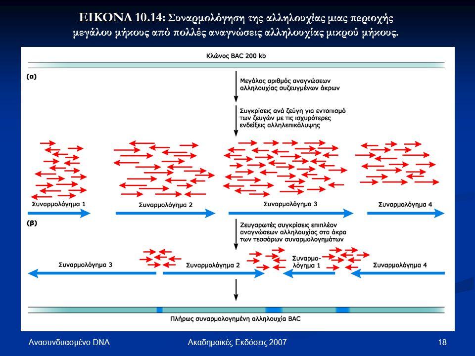 Ανασυνδυασμένο DNA 18Ακαδημαϊκές Εκδόσεις 2007 EIKONA 10.14: EIKONA 10.14: Συναρμολόγηση της αλληλουχίας μιας περιοχής μεγάλου μήκους από πολλές αναγνώσεις αλληλουχίας μικρού μήκους.