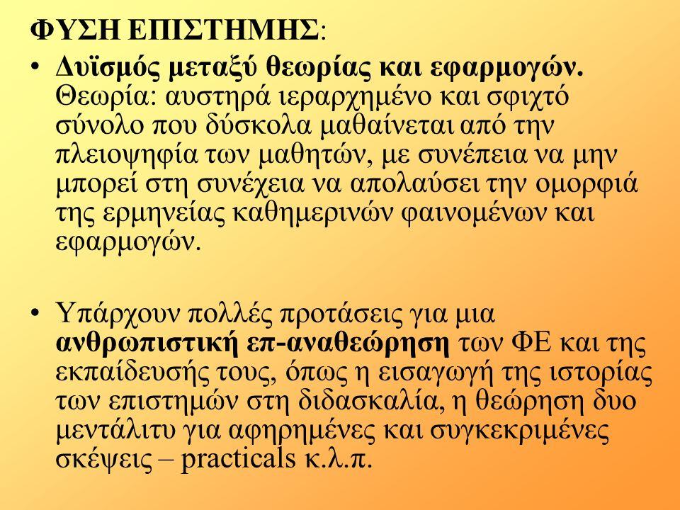 ΦΥΣΗ ΕΠΙΣΤΗΜΗΣ: Δυϊσμός μεταξύ θεωρίας και εφαρμογών.