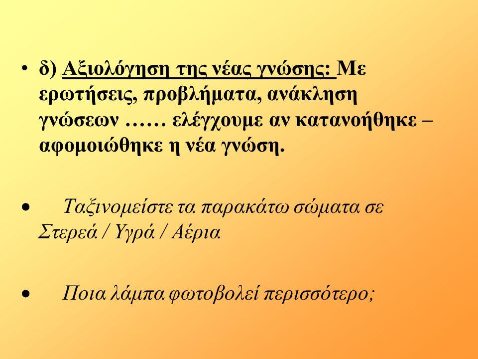 δ) Αξιολόγηση της νέας γνώσης: Με ερωτήσεις, προβλήματα, ανάκληση γνώσεων …… ελέγχουμε αν κατανοήθηκε – αφομοιώθηκε η νέα γνώση.