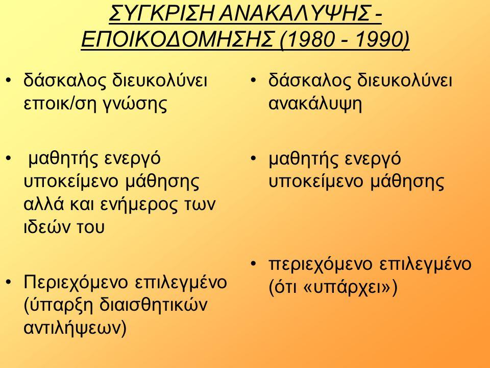 ΣΥΓΚΡΙΣΗ ΑΝΑΚΑΛΥΨΗΣ - ΕΠΟΙΚΟΔΟΜΗΣΗΣ (1980 - 1990) δάσκαλος διευκολύνει εποικ/ση γνώσης μαθητής ενεργό υποκείμενο μάθησης αλλά και ενήμερος των ιδεών του Περιεχόμενο επιλεγμένο (ύπαρξη διαισθητικών αντιλήψεων) δάσκαλος διευκολύνει ανακάλυψη μαθητής ενεργό υποκείμενο μάθησης περιεχόμενο επιλεγμένο (ότι «υπάρχει»)