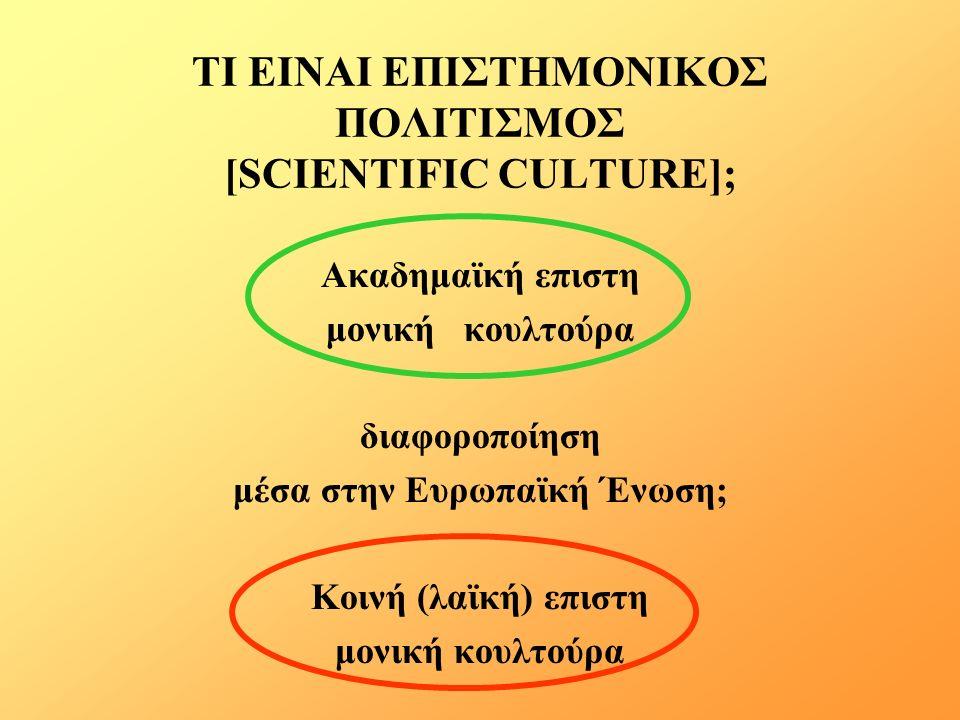 ΤΙ ΕΙΝΑΙ ΕΠΙΣΤΗΜΟΝΙΚΟΣ ΠΟΛΙΤΙΣΜΟΣ [SCIENTIFIC CULTURE]; Ακαδημαϊκή επιστη μονική κουλτούρα διαφοροποίηση μέσα στην Ευρωπαϊκή Ένωση; Κοινή (λαϊκή) επιστη μονική κουλτούρα