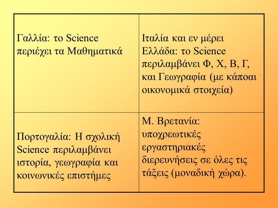 Γαλλία: το Science περιέχει τα Μαθηματικά Ιταλία και εν μέρει Ελλάδα: το Science περιλαμβάνει Φ, Χ, Β, Γ, και Γεωγραφία (με κάποαι οικονομικά στοιχεία) Πορτογαλία: Η σχολική Science περιλαμβάνει ιστορία, γεωγραφία και κοινωνικές επιστήμες Μ.