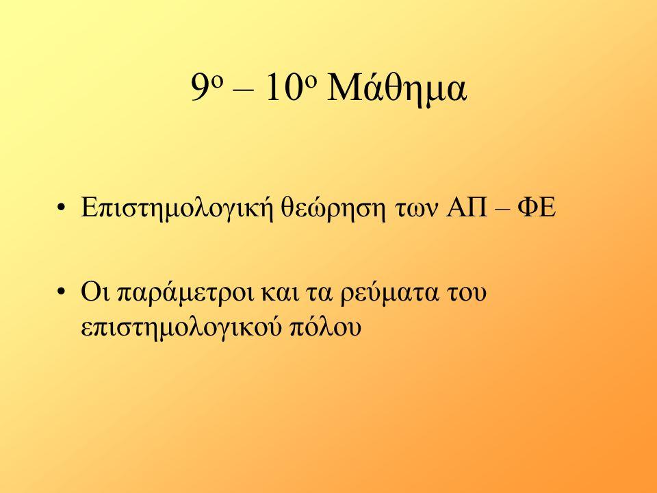 9 ο – 10 ο Μάθημα Επιστημολογική θεώρηση των ΑΠ – ΦΕ Οι παράμετροι και τα ρεύματα του επιστημολογικού πόλου