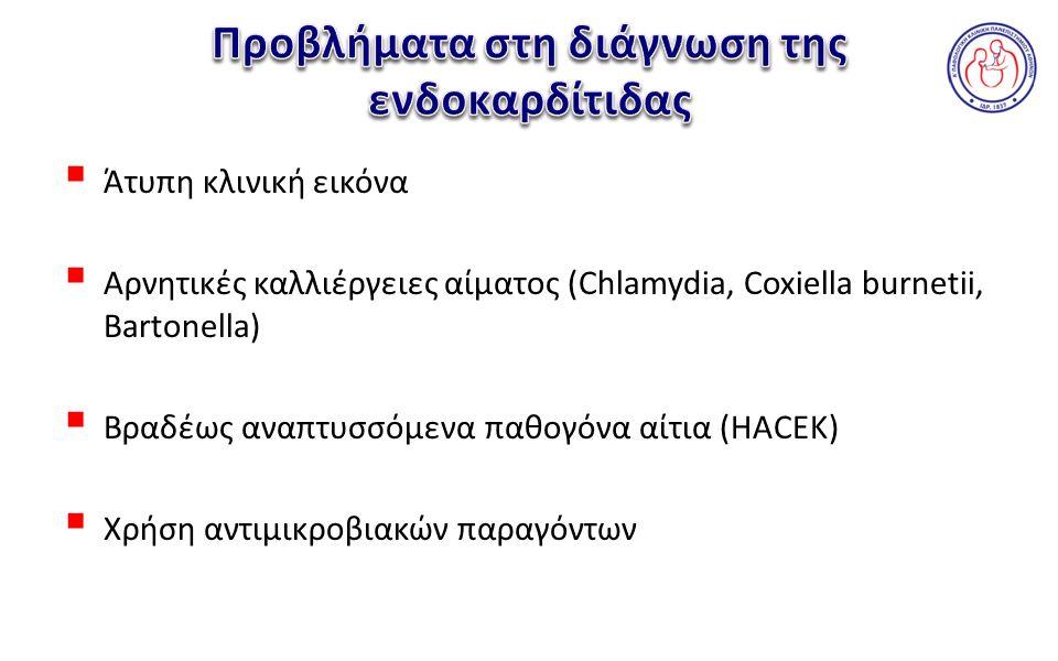  Άτυπη κλινική εικόνα  Αρνητικές καλλιέργειες αίματος (Chlamydia, Coxiella burnetii, Bartonella)  Bραδέως αναπτυσσόμενα παθογόνα αίτια (HACEK)  Χρήση αντιμικροβιακών παραγόντων