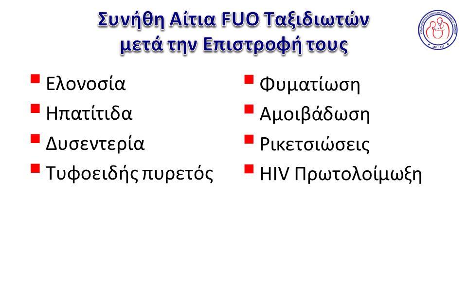 Ελονοσία  Ηπατίτιδα  Δυσεντερία  Τυφοειδής πυρετός  Φυματίωση  Αμοιβάδωση  Ρικετσιώσεις  HIV Πρωτολοίμωξη