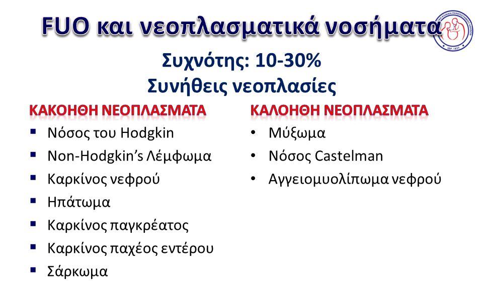  Νόσος του Hodgkin  Non-Hodgkin's Λέμφωμα  Καρκίνος νεφρού  Ηπάτωμα  Καρκίνος παγκρέατος  Καρκίνος παχέος εντέρου  Σάρκωμα Μύξωμα Νόσος Castelman Αγγειομυολίπωμα νεφρού Συχνότης: 10-30% Συνήθεις νεοπλασίες