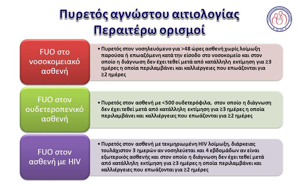 Αιτία λοιμώξεων που προκαλούν FUO Αποστήματα26,9% Φυματίωση18,5% Ιώσεις11,1% Λοιμώξεις ουροποιητικού12,0% Μετεγχειρητικές λοιμώξεις4,6% Ενδοκαρδίτιδα8,4% Διάφορες λοιμώξεις18,5%