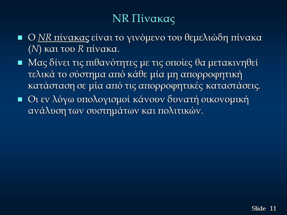 11 Slide NR Πίνακας n Ο NR πίνακας είναι το γινόμενο του θεμελιώδη πίνακα ( N ) και του R πίνακα. n Μας δίνει τις πιθανότητες με τις οποίες θα μετακιν