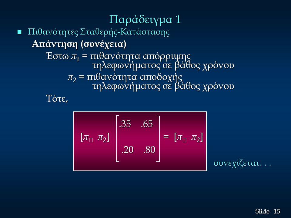 15 Slide Παράδειγμα 1 n Πιθανότητες Σταθερής-Κατάστασης Απάντηση (συνέχεια) Έστω π 1 = πιθανότητα απόρριψης τηλεφωνήματος σε βάθος χρόνου π 2 = πιθανό