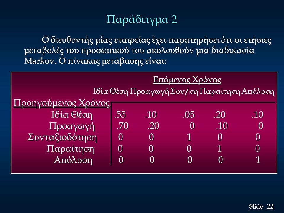 22 Slide Παράδειγμα 2 Ο διευθυντής μίας εταιρείας έχει παρατηρήσει ότι οι ετήσιες μεταβολές του προσωπικού του ακολουθούν μια διαδικασία Markov. Ο πίν