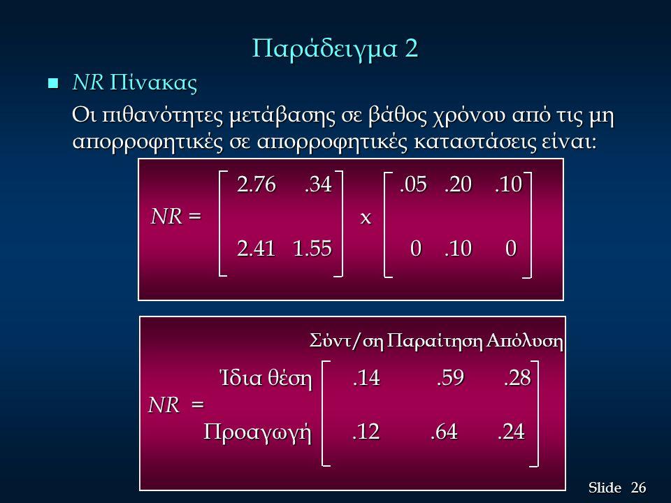26 Slide Παράδειγμα 2 n NR Πίνακας Οι πιθανότητες μετάβασης σε βάθος χρόνου από τις μη απορροφητικές σε απορροφητικές καταστάσεις είναι: 2.76.34.05.20