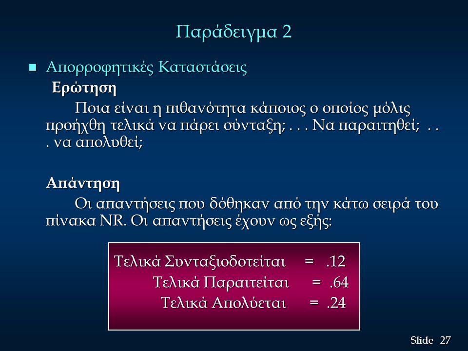 27 Slide Παράδειγμα 2 n Απορροφητικές Καταστάσεις Ερώτηση Ποια είναι η πιθανότητα κάποιος ο οποίος μόλις προήχθη τελικά να πάρει σύνταξη;... Να παραιτ