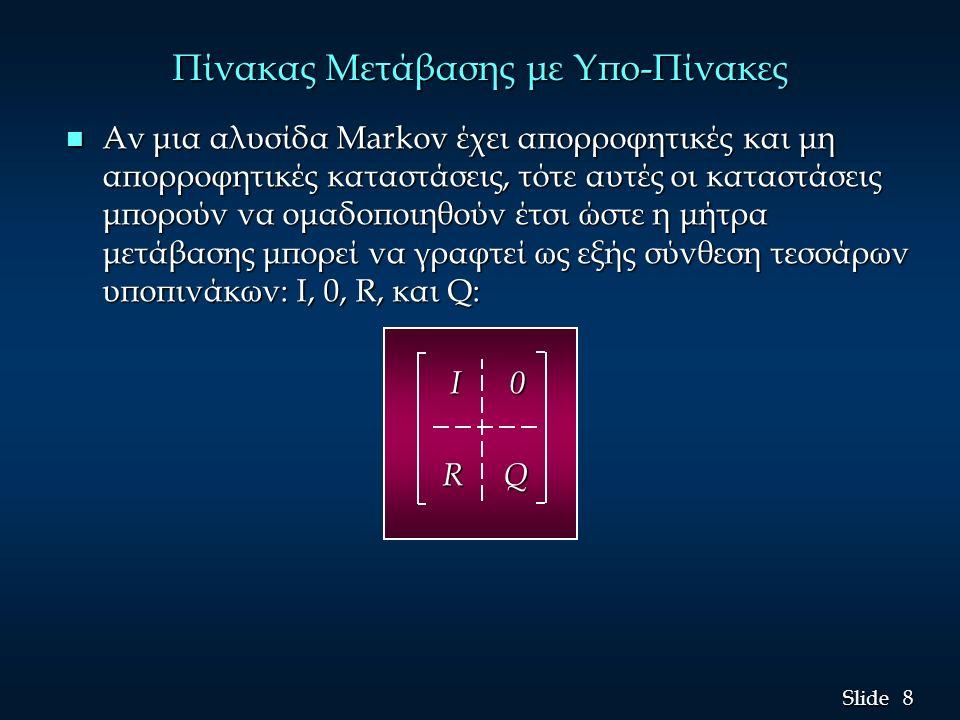 8 8 Slide Πίνακας Μετάβασης με Υπο-Πίνακες n Αν μια αλυσίδα Markov έχει απορροφητικές και μη απορροφητικές καταστάσεις, τότε αυτές οι καταστάσεις μπορ