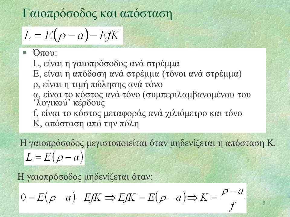 5 Γαιοπρόσοδος και απόσταση §Όπου: L, είναι η γαιοπρόσοδος ανά στρέμμα Ε, είναι η απόδοση ανά στρέμμα (τόνοι ανά στρέμμα) ρ, είναι η τιμή πώλησης ανά τόνο α, είναι το κόστος ανά τόνο (συμπεριλαμβανομένου του 'λογικού' κέρδους f, είναι το κόστος μεταφοράς ανά χιλιόμετρο και τόνο Κ, απόσταση από την πόλη Η γαιοπρόσοδος μεγιστοποιείται όταν μηδενίζεται η απόσταση Κ.