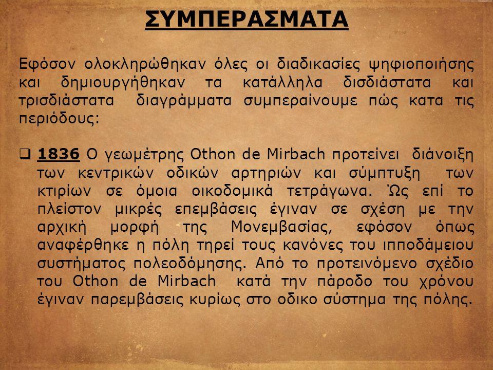 ΣΥΜΠΕΡΑΣΜΑΤΑ Εφόσον ολοκληρώθηκαν όλες οι διαδικασίες ψηφιοποιήσης και δημιουργήθηκαν τα κατάλληλα δισδιάστατα και τρισδιάστατα διαγράμματα συμπεραίνουμε πώς κατα τις περιόδους:  1836 Ο γεωμέτρης Othon de Mirbach προτείνει διάνοιξη των κεντρικών οδικών αρτηριών και σύμπτυξη των κτιρίων σε όμοια οικοδομικά τετράγωνα.