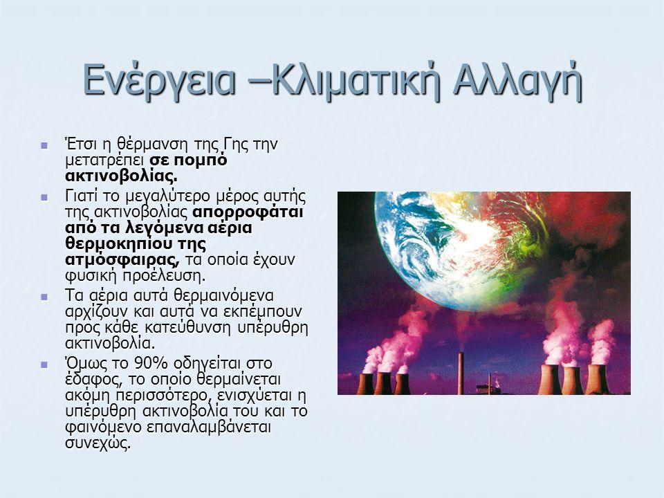 Ενέργεια –Κλιματική Αλλαγή Την μεγαλύτερη συνεισφορά στο φαινόμενο Θερμοκηπίου έχουν κατά σειρά: Την μεγαλύτερη συνεισφορά στο φαινόμενο Θερμοκηπίου έχουν κατά σειρά: οι υδρατμοί, οι υδρατμοί, το διοξείδιο τού άνθρακος και το διοξείδιο τού άνθρακος και τα νέφη, πού δεν προέρχονται κατ ανάγκη απ΄ τις ανθρώπινες δραστηριότητες.
