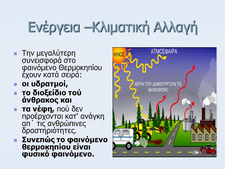 Ενέργεια –Κλιματική Αλλαγή Η σημερινή τεχνολογία βασίζεται σε ανεμογεννήτριες οριζοντίου άξονα 2 ή 3 πτερυγίων, με αποδιδόμενη ηλεκτρική ισχύ 200 – 400kW.