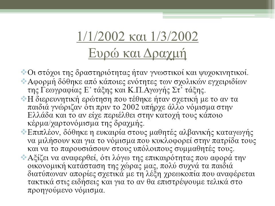 1/1/2002 και 1/3/2002 Ευρώ και Δραχμή  Οι στόχοι της δραστηριότητας ήταν γνωστικοί και ψυχοκινητικοί.