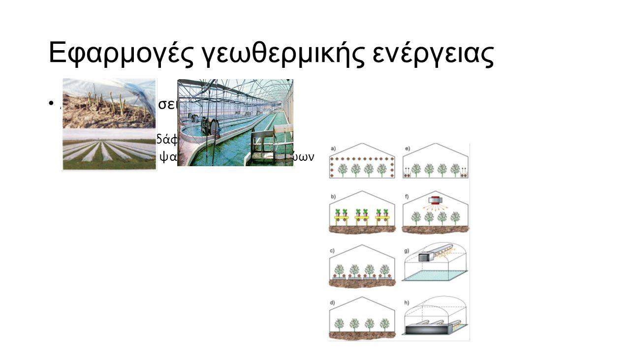 Εφαρμογές γεωθερμικής ενέργειας Αγροτικές χρήσεις Θερμοκήπια Θέρμανση εδάφους Καλλιέργεια ψαριών και εκτροφή ζώων