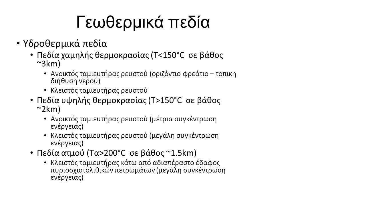Γεωθερμικά πεδία Υδροθερμικά πεδία Πεδία χαμηλής θερμοκρασίας (Τ<150°C σε βάθος ~3km) Ανοικτός ταμιευτήρας ρευστού (οριζόντιο φρεάτιο – τοπικη διήθυση νερού) Κλειστός ταμιευτήρας ρευστού Πεδία υψηλής θερμοκρασίας (Τ>150°C σε βάθος ~2km) Ανοικτός ταμιευτήρας ρευστού (μέτρια συγκέντρωση ενέργειας) Κλειστός ταμιευτήρας ρευστού (μεγάλη συγκέντρωση ενέργειας) Πεδία ατμού (Τα>200°C σε βάθος ~1.5km) Κλειστός ταμιευτήρας κάτω από αδιαπέραστο έδαφος πυριοσχιστολιθικών πετρωμάτων (μεγάλη συγκέντρωση ενέργειας)