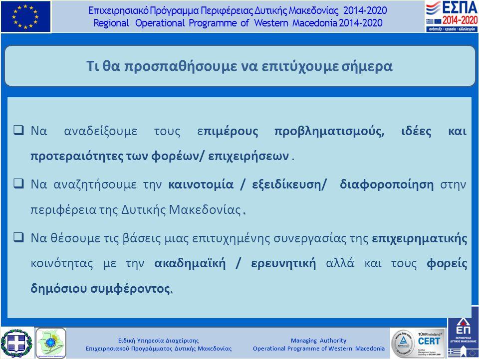 Ειδική Υπηρεσία Διαχείρισης Επιχειρησιακού Προγράμματος Δυτικής Μακεδονίας Επιχειρησιακό Πρόγραμμα Περιφέρειας Δυτικής Μακεδονίας 2014-2020 Regional Operational Programme of Western Macedonia 2014-2020 Managing Authority Operational Programme of Western Macedonia Τι θα προσπαθήσουμε να επιτύχουμε σήμερα  Να αναδείξουμε τους επιμέρους προβληματισμούς, ιδέες και προτεραιότητες των φορέων/ επιχειρήσεων..
