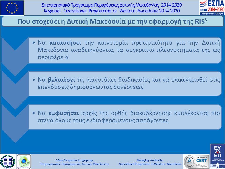 Ειδική Υπηρεσία Διαχείρισης Επιχειρησιακού Προγράμματος Δυτικής Μακεδονίας Επιχειρησιακό Πρόγραμμα Περιφέρειας Δυτικής Μακεδονίας 2014-2020 Regional Operational Programme of Western Macedonia 2014-2020 Managing Authority Operational Programme of Western Macedonia Που στοχεύει η Δυτική Μακεδονία με την εφαρμογή της RIS 3 Να καταστήσει την καινοτομία προτεραιότητα για την Δυτική Μακεδονία αναδεικνύοντας τα συγκριτικά πλεονεκτήματα της ως περιφέρεια Να βελτιώσει τις καινοτόμες διαδικασίες και να επικεντρωθεί στις επενδύσεις δημιουργώντας συνέργειες Να εμφυσήσει αρχές της ορθής διακυβέρνησης εμπλέκοντας πιο στενά όλους τους ενδιαφερόμενους παράγοντες