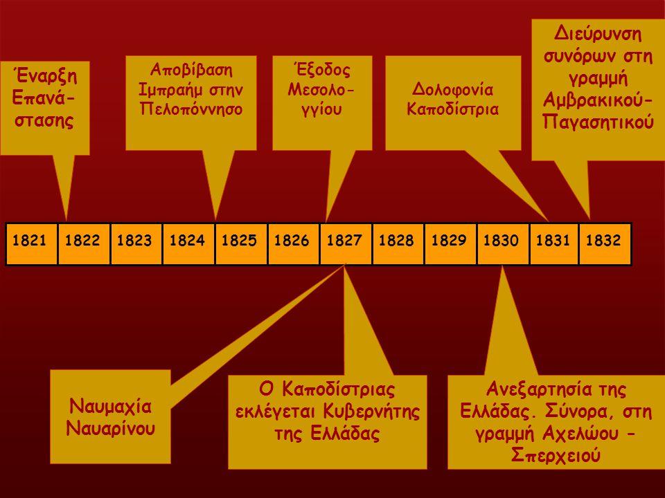 ναρ 18211822182318241825182618271828182918301831 Έναρξη Επανά- στασης Αποβίβαση Ιμπραήμ στην Πελοπόννησο Έξοδος Μεσολο- γγίου Ναυμαχία Ναυαρίνου Ο Καποδίστριας εκλέγεται Κυβερνήτης της Ελλάδας Δολοφονία Καποδίστρια 1832 Ανεξαρτησία της Ελλάδας.