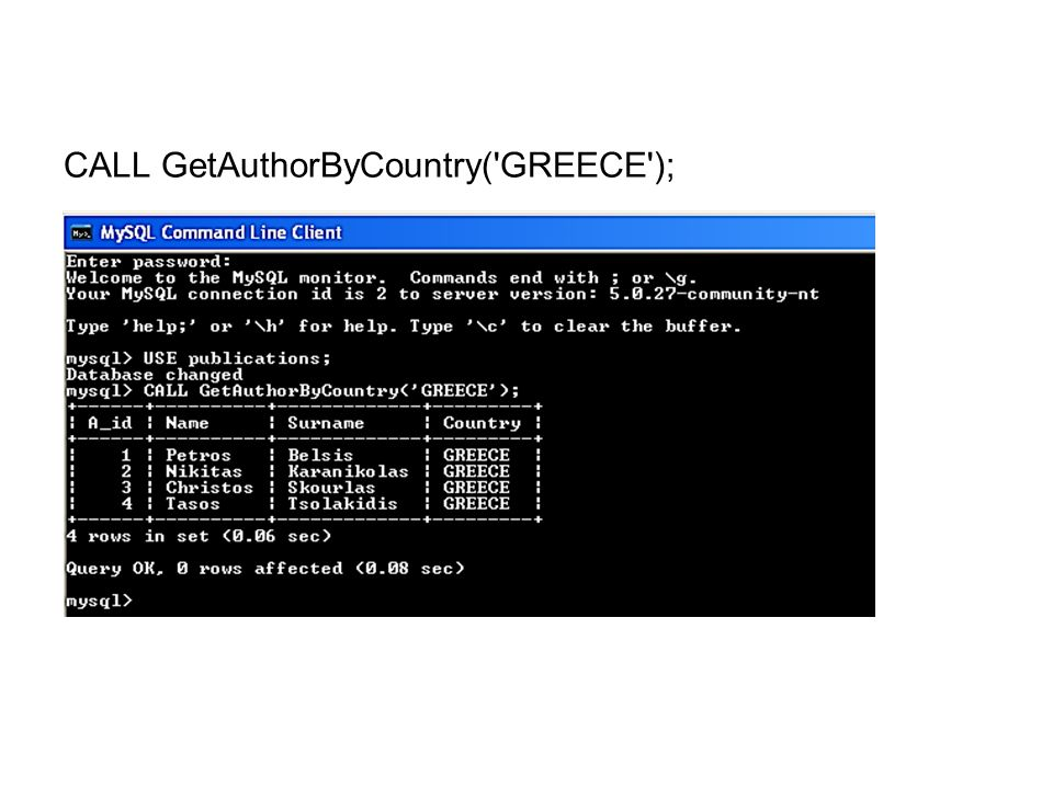 CALL GetAuthorByCountry( GREECE );