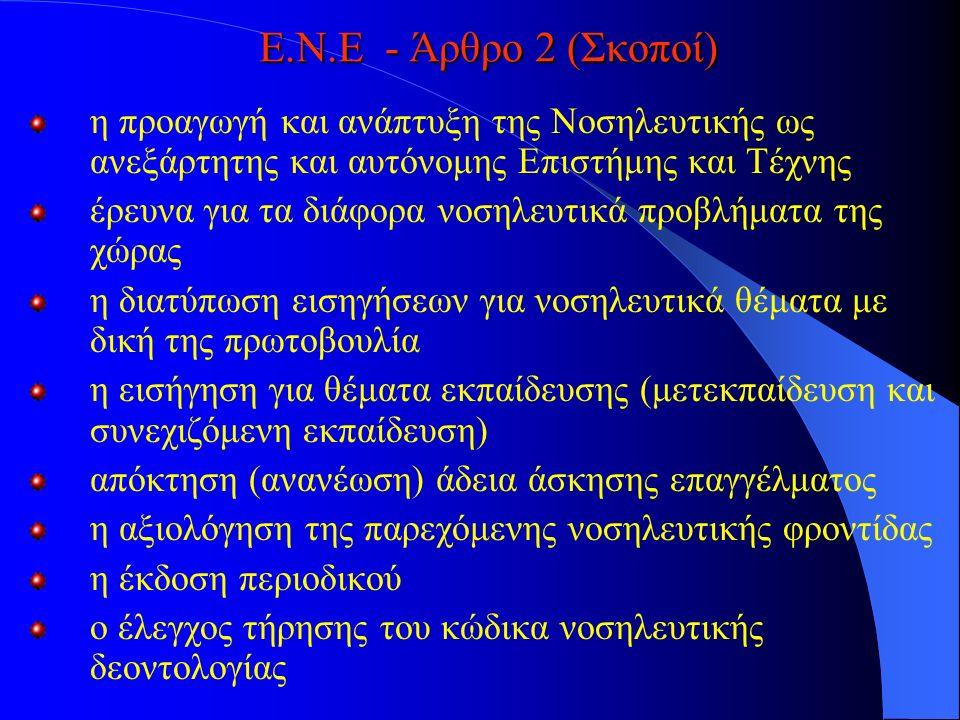 Ε.Ν.Ε - Άρθρο 2 (Σκοποί) η προαγωγή και ανάπτυξη της Νοσηλευτικής ως ανεξάρτητης και αυτόνομης Επιστήμης και Τέχνης έρευνα για τα διάφορα νοσηλευτικά προβλήματα της χώρας η διατύπωση εισηγήσεων για νοσηλευτικά θέματα με δική της πρωτοβουλία η εισήγηση για θέματα εκπαίδευσης (μετεκπαίδευση και συνεχιζόμενη εκπαίδευση) απόκτηση (ανανέωση) άδεια άσκησης επαγγέλματος η αξιολόγηση της παρεχόμενης νοσηλευτικής φροντίδας η έκδοση περιοδικού ο έλεγχος τήρησης του κώδικα νοσηλευτικής δεοντολογίας