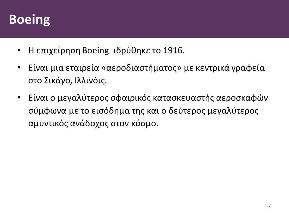 Boeing Η επιχείρηση Boeing ιδρύθηκε το 1916. Είναι μια εταιρεία «αεροδιαστήματος» με κεντρικά γραφεία στο Σικάγο, Ιλλινόις. Είναι ο μεγαλύτερος σφαιρι