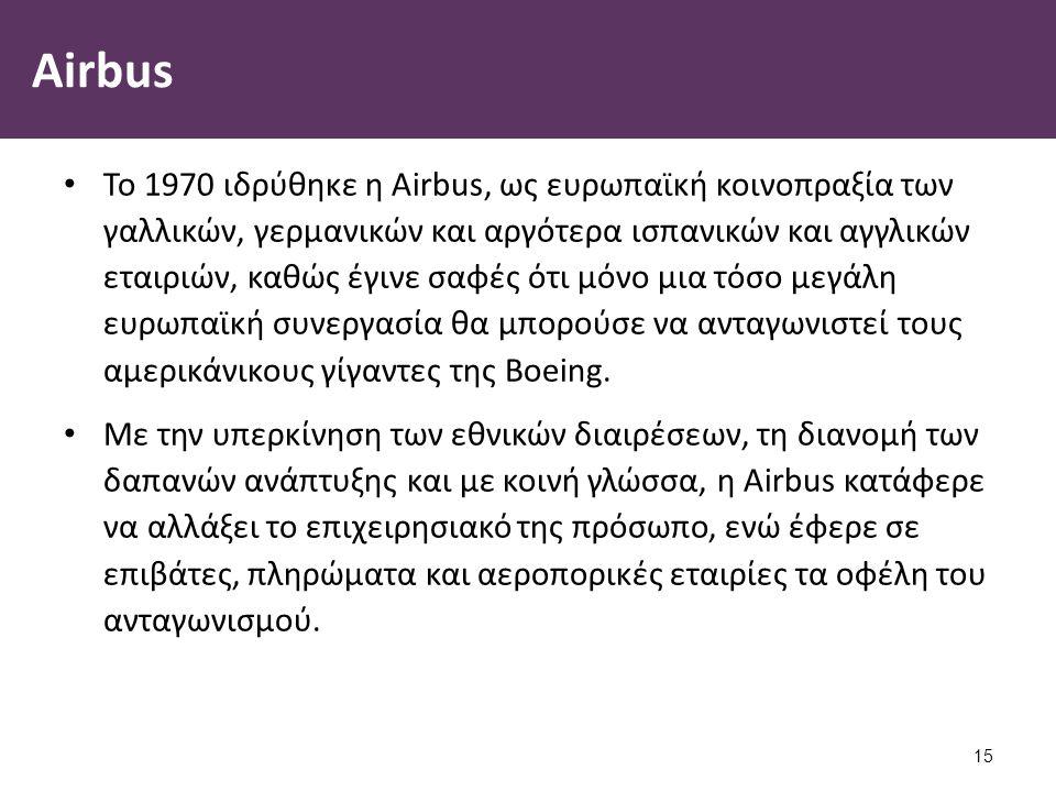 Airbus Το 1970 ιδρύθηκε η Airbus, ως ευρωπαϊκή κοινοπραξία των γαλλικών, γερμανικών και αργότερα ισπανικών και αγγλικών εταιριών, καθώς έγινε σαφές ότ