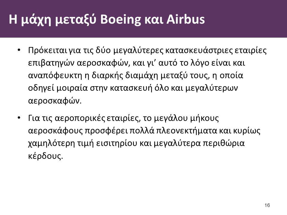 Η μάχη μεταξύ Boeing και Airbus Πρόκειται για τις δύο μεγαλύτερες κατασκευάστριες εταιρίες επιβατηγών αεροσκαφών, και γι' αυτό το λόγο είναι και αναπόφευκτη η διαρκής διαμάχη μεταξύ τους, η οποία οδηγεί μοιραία στην κατασκευή όλο και μεγαλύτερων αεροσκαφών.