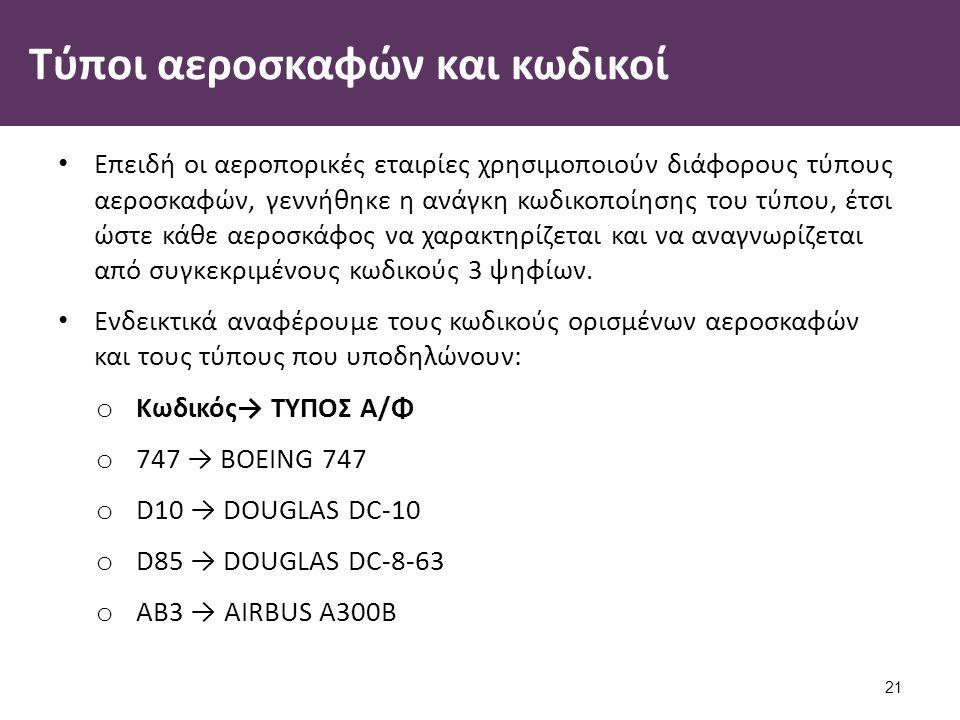 Τύποι αεροσκαφών και κωδικοί Επειδή οι αεροπορικές εταιρίες χρησιμοποιούν διάφορους τύπους αεροσκαφών, γεννήθηκε η ανάγκη κωδικοποίησης του τύπου, έτσι ώστε κάθε αεροσκάφος να χαρακτηρίζεται και να αναγνωρίζεται από συγκεκριμένους κωδικούς 3 ψηφίων.